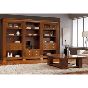 Muebles salon madera pino macizaguiamuebles short black hair for Muebles nogal yecla